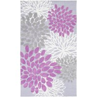 ABI9055-3353 3 x 5 Small Floral Purple and Gray Kids Area Rug - Abigail