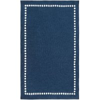 ABI9076-268 Navy Blue and Cream Kids 8 Foot Runner Rug - Abigail
