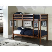 2178-021 Classic Contemporary Walnut Twin-over-Twin Bunk Bed - Caspian