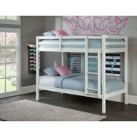 Classic Contemporary White Twin Over Twin Bunk Bed Caspian Rc Willey Furniture Store