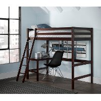 2176-320 Classic Contemporary Chocolate Twin Loft Bed - Caspian
