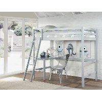 2177-320 Classic Contemporary Gray Twin Loft Bed - Caspian