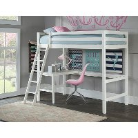 2179-320 Classic Contemporary White Twin Loft Bed - Caspian