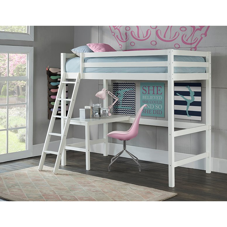 Clic Contemporary White Twin Loft Bed Caspian Rc Willey Furniture