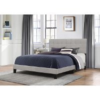2009-660 Classic Contemporary Gray King Upholstered Bed - Delaney