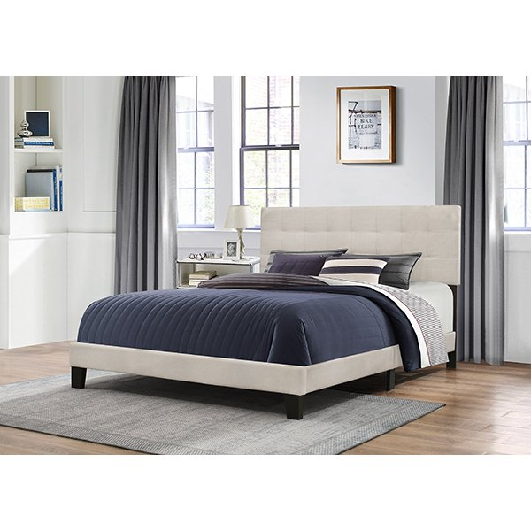 Classic Contemporary Linen Queen Upholstered Bed - Delaney