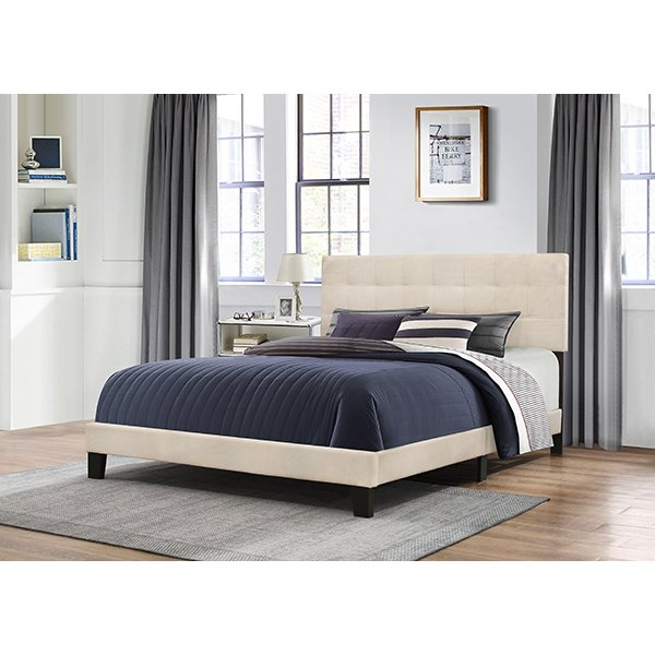 Classic Contemporary Linen King Upholstered Bed - Delaney