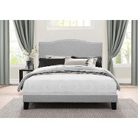 2011-660 Classic Traditional Gray King Upholstered Bed - Kiley