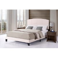 2077-660 Contemporary Ecru Linen King Upholstered Bed - Southport