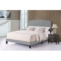 2077-331 Contemporary Smoke Gray Twin Upholstered Bed - Southport