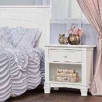 830-BW Brush White 1-Drawer Nightstand - Santa Fe