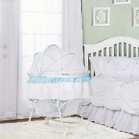 Blue and White Portable 2-in-1 Bassinet and Cradle - Lacy