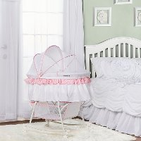 Pink and White Portable 2-in-1 Bassinet and Cradle - Lacy