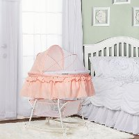 Rose Pink Portable 2-in-1 Bassinet and Cradle - Lacy