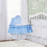 Serenity Blue Portable 2-in-1 Bassinet and Cradle - Lacy