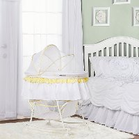 Yellow and White Portable 2-in-1 Bassinet and Cradle - Lacy