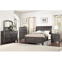 Classic Traditional Gray 6 Piece Queen Bedroom Set - Stella