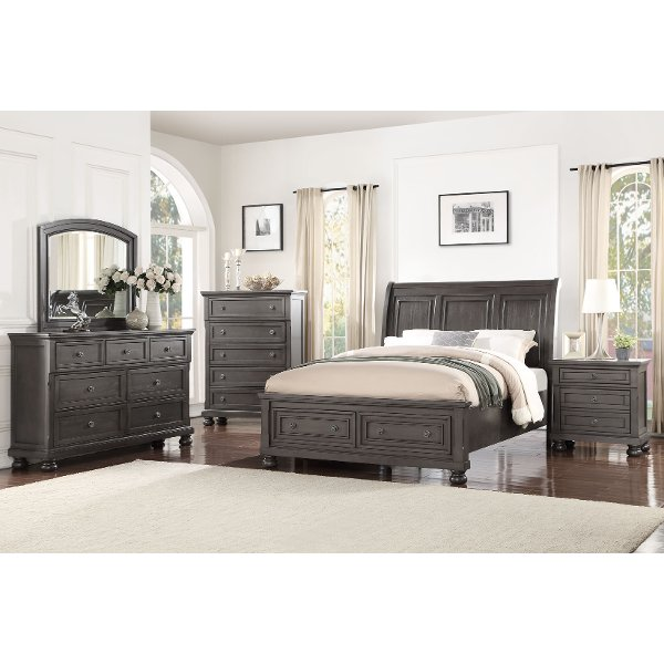 ... Classic Traditional Gray 4 Piece King Bedroom Set   Stella