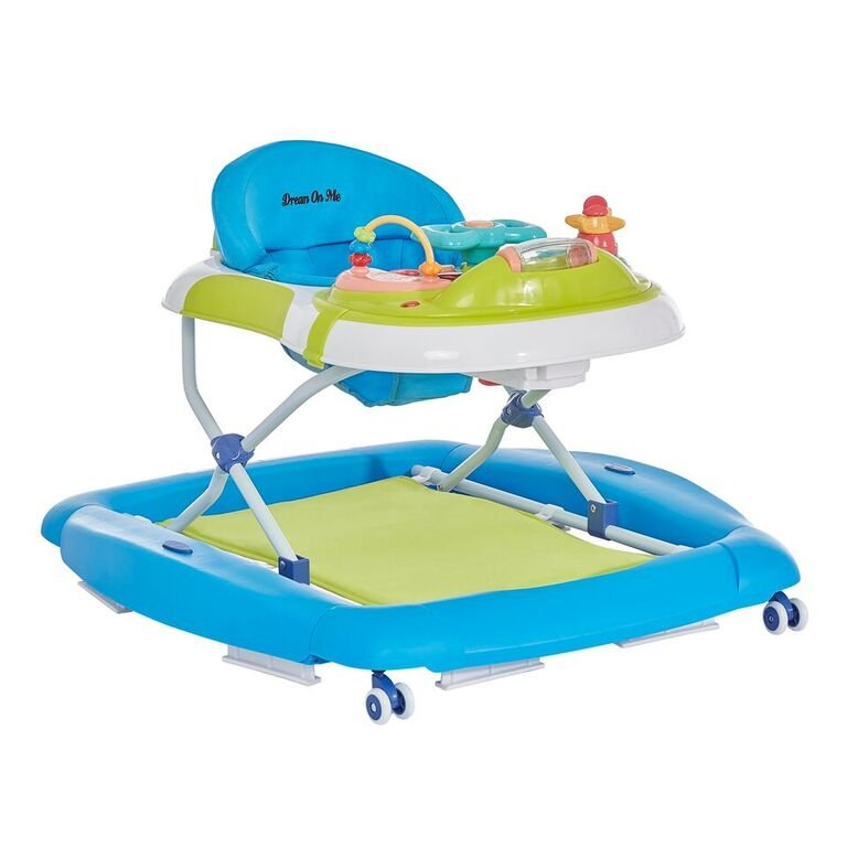 Teal and Green 2-in-1 Crossover Musical Walker and Rocker