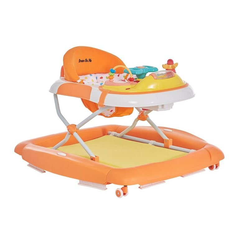 Orange and White 2-in-1 Crossover Musical Walker and Rocker