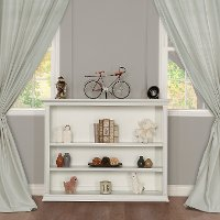 818-W White Hutch and Bookshelf - Napoli