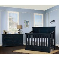842-DN Distressed Navy Blue 5-in-1 Convertible Crib - Parker