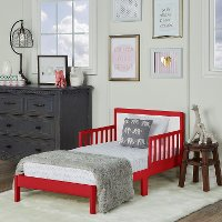 Modern Red and White Toddler Bed - Brookside