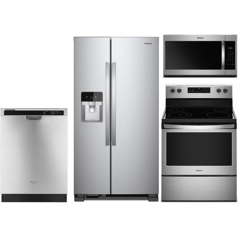 Whirlpool 4 Piece Electric Kitchen Appliance Package with 24.5 Cu. Ft. Side  by Side Refrigerator - Stainless Steel