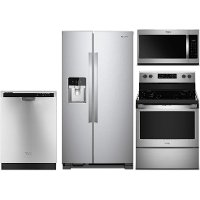 KIT Whirlpool 4 Piece Kitchen Appliance Package with Electric Range - Stainless Steel