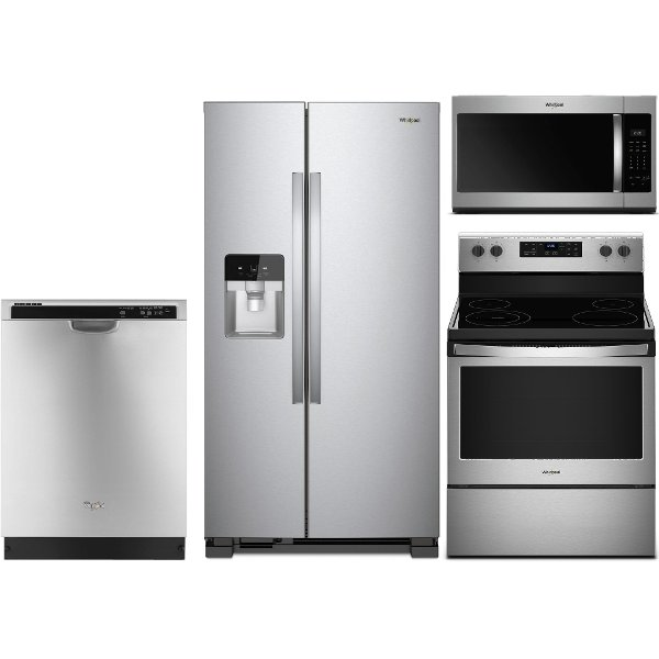 KIT Whirlpool 4 Piece Kitchen Appliance Package With Electric Range   Stainless  Steel ...
