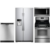 KIT Whirlpool 4 Piece Kitchen Appliance Package with Gas Range - Stainless Steel