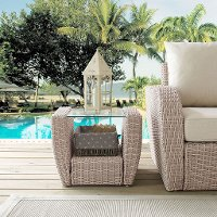 C07231-WH Outdoor Wicker Side Table - St Augustine