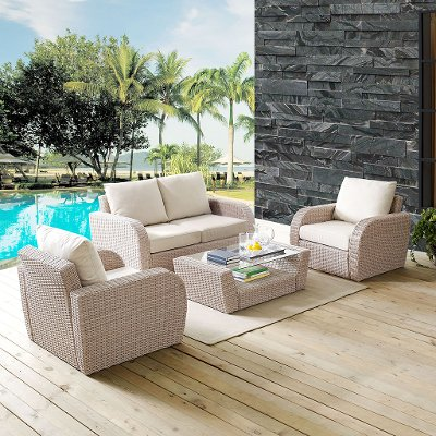 K070132WH OL 4 Piece Outdoor Wicker Patio Set   St Augustine