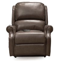 Caramel Brown Leather-Match Power Reclining Lift Chair - Palermo