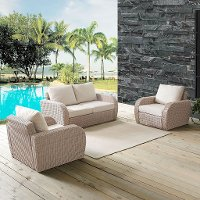 K070134WH-OL 3 Piece Outdoor Wicker Patio Set - St Augustine
