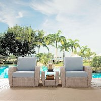 K070139WH-MI 3 Piece Outdoor Wicker Patio Set - St Sugustine