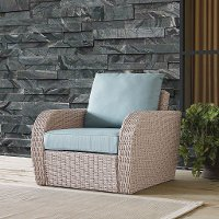 K070141WH-MI Outdoor Wicker Arm Chair with Mist Gray Cushions - St Augustine
