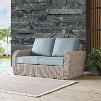 K070142WH-MI Outdoor Wicker Loveseat with Mist Gray Cushions - St Augustine