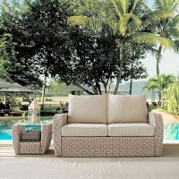 K070142WH-OL Outdoor Wicker Loveseat with Oatmeal Cushions - St Augustine