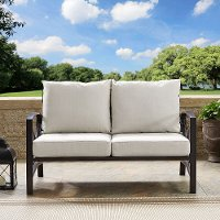 KO60008BZ-OL Bronze and Tan Outdoor Patio Loveseat - Kaplan