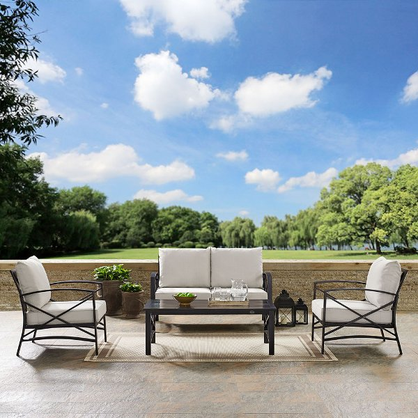 ... KO60009BZ OL Cream 4 Piece Outdoor Patio Furniture Set   Kaplan
