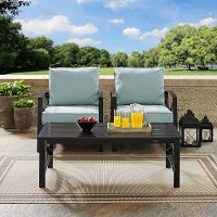 KO60012BZ-MI Mist Gray 3 Piece Outdoor Patio Furniture Set - Kaplan