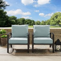 KO60013BZ-MI Set of 2 Oiled Bronze Outdoor Patio Arm Chairs - Kaplan