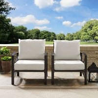 KO60013BZ-OL Set of 2 Oiled Bronze Outdoor Patio Arm Chairs - Kaplan