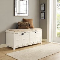 CF6009-WH White Entryway Bench - Alder