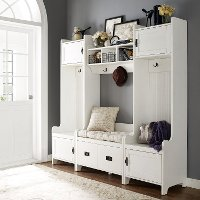 KF60006WH Distressed White 4 Piece Entryway Wall Unit - Fremont