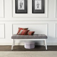 CF6019-WH White and Gray Upholstered Bench - Landon
