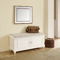 CF6010-WH White Entryway Bench - Palmetto