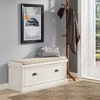 CF6011-WH Distressed White Entryway Bench - Seaside