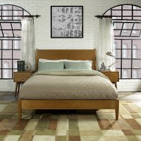 KF725001AC Mid Century Modern Acorn Brown Queen Platform Bed - Landon